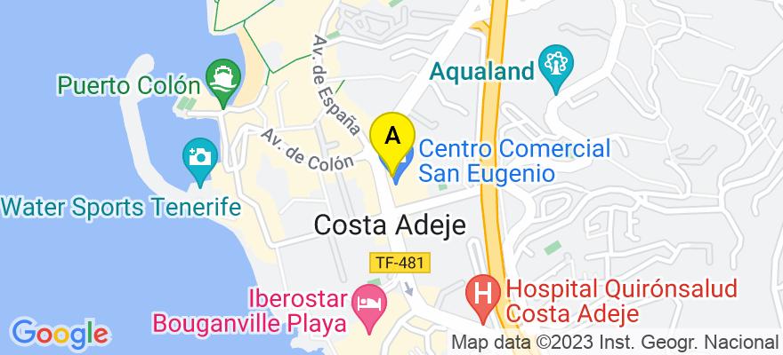 situacion en el mapa de . Direccion: Calle Puerto Colon. Ed. Club Atlantis Local 1. San Eugenio, 38660 Adeje. Santa Cruz de Tenerife