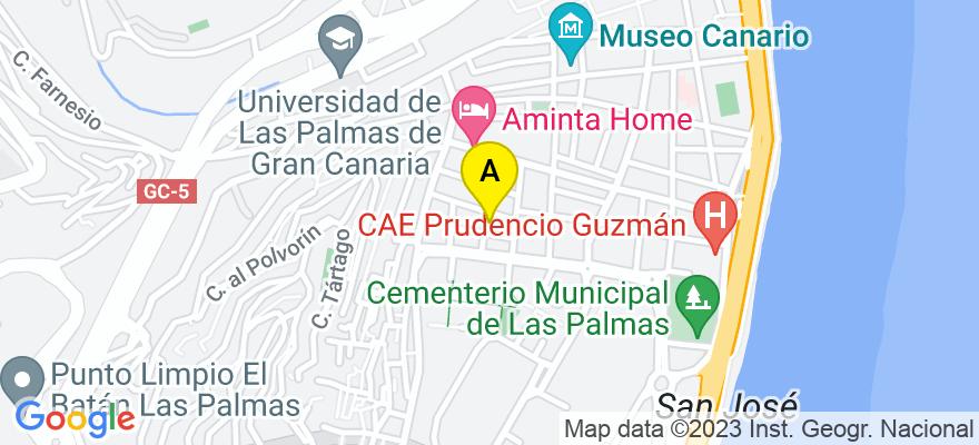 situacion en el mapa de . Direccion: c/ Salvador Calderón nº 11, 2º, 35001 Las Palmas de Gran Canaria. Las Palmas