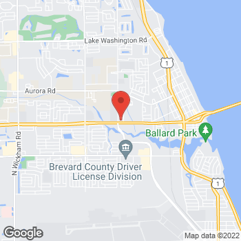 Map of Lewis Bean, MD at 1600 W. Eau Gallie Blvd, Melbourne, FL 32901