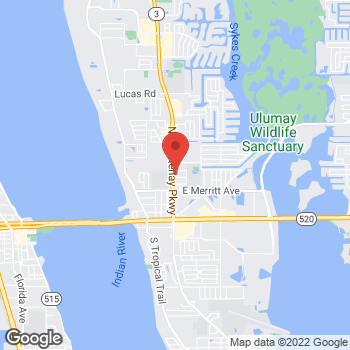 Map of Taco Bell at 410 N Courtenay Pkwy, Merritt Island, FL 32953