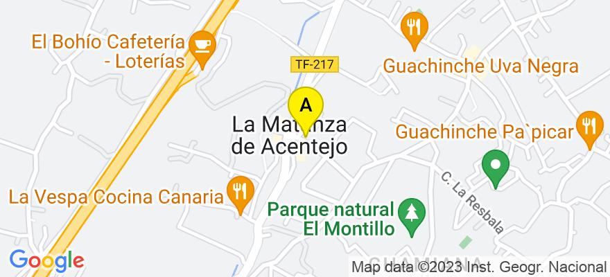 situacion en el mapa de . Direccion: Carretera General número 89,local 9, La Matanza de Acentejo. Santa Cruz de Tenerife, 38370 La Matanza de Acentejo. Santa Cruz de Tenerife