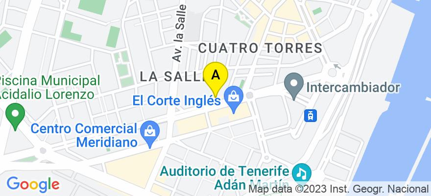 situacion en el mapa de . Direccion: Avda. Tres de Mayo, nº 18, 8º D, 38005 Santa Cruz de Tenerife. Santa Cruz de Tenerife