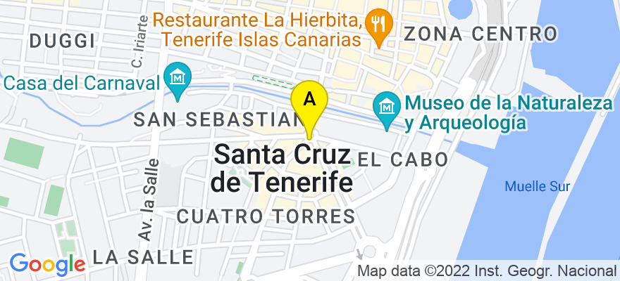 situacion en el mapa de . Direccion: Aguere 9  Edificio Torre de Cristal oficina 1, 38005 Santa Cruz de Tenerife. Santa Cruz de Tenerife