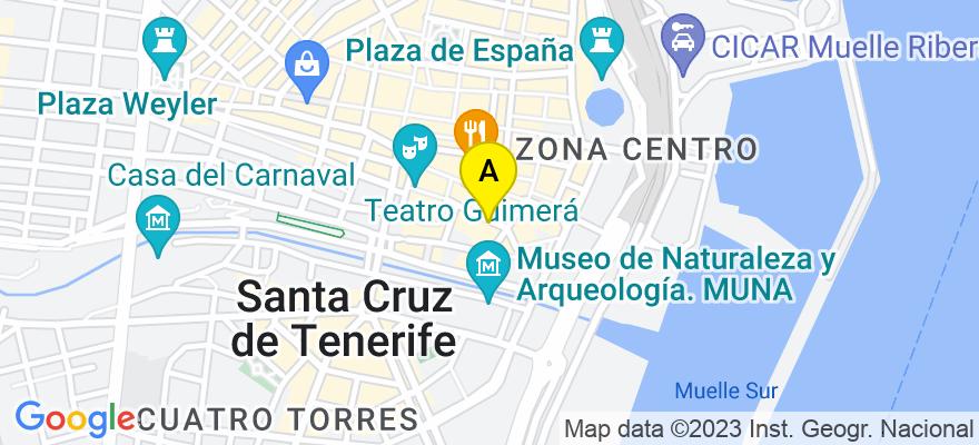 situacion en el mapa de . Direccion: Santo Domingo, 11, 1º, 38003 Santa Cruz de Tenerife. Santa Cruz de Tenerife