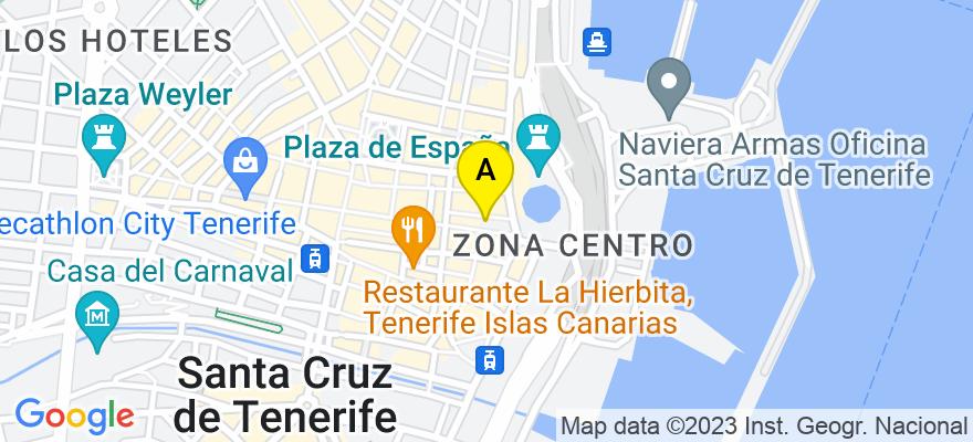 situacion en el mapa de . Direccion: Plaza Candelaria nº 1, planta 4ª, Edificio Olympo, 38003 Santa Cruz de Tenerife. Santa Cruz de Tenerife