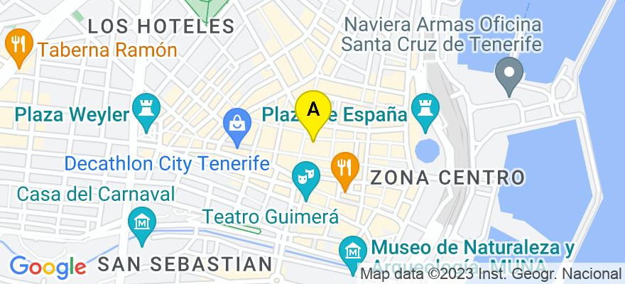 situacion en el mapa de . Direccion: Bethencourt Alfonso 33, 7º., 38002 Santa Cruz de Tenerife. Santa Cruz de Tenerife