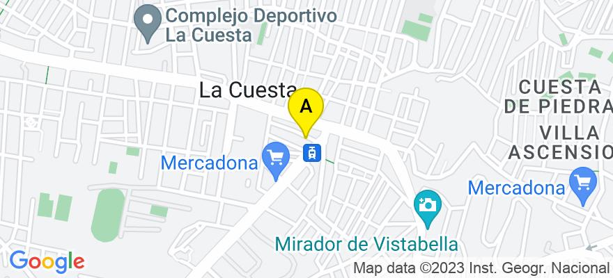 situacion en el mapa de . Direccion: C/ Alonso de Castro,  nº 1, P2, oficina 203, 38320 San Cristóbal de La Laguna. Santa Cruz de Tenerife