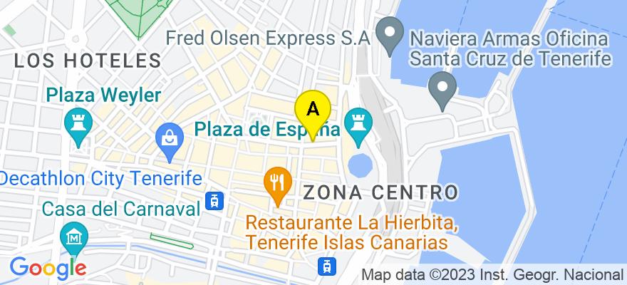 situacion en el mapa de . Direccion: C/Villalba Hervás Nº 10, 2D, 38002 Santa Cruz de Tenerife. Santa Cruz de Tenerife