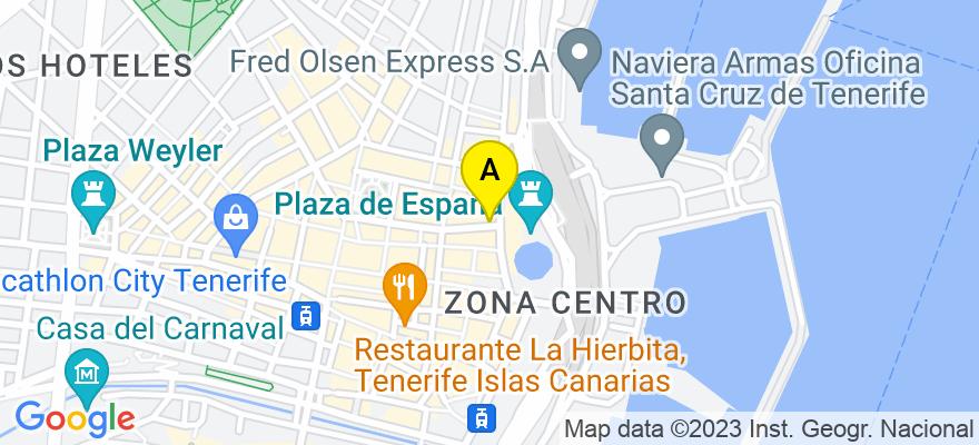 situacion en el mapa de . Direccion: C/Villalba Hervás, nº 2, 6º D, 38002 Santa Cruz de Tenerife. Santa Cruz de Tenerife