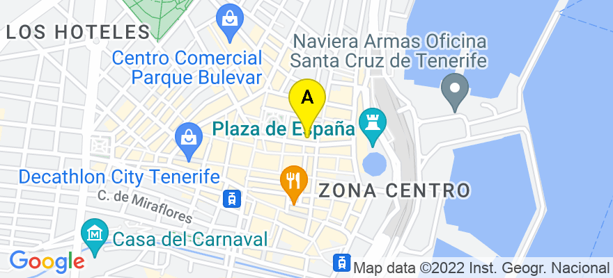 situacion en el mapa de . Direccion: C/ San Fracisco de Paula, 2, 1ºD, 38002 Santa Cruz de Tenerife. Santa Cruz de Tenerife