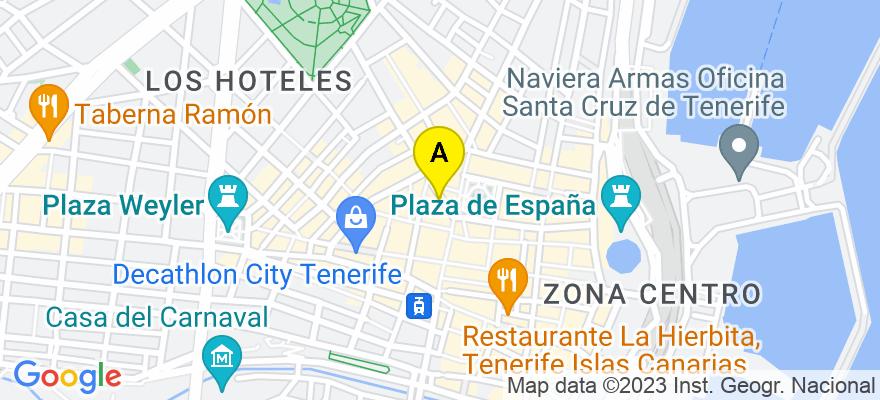 situacion en el mapa de . Direccion: Calle pilar 5, 38110 Santa Cruz de Tenerife. Santa Cruz de Tenerife