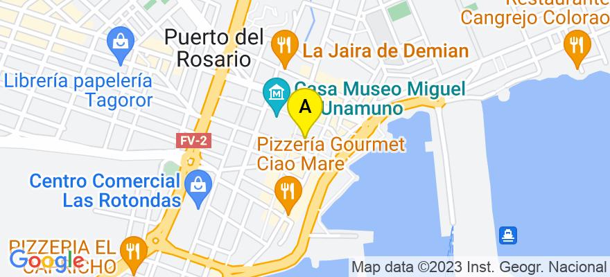 situacion en el mapa de . Direccion: C/ Fuerteventura 7, 35600 Puerto del Rosario. Las Palmas