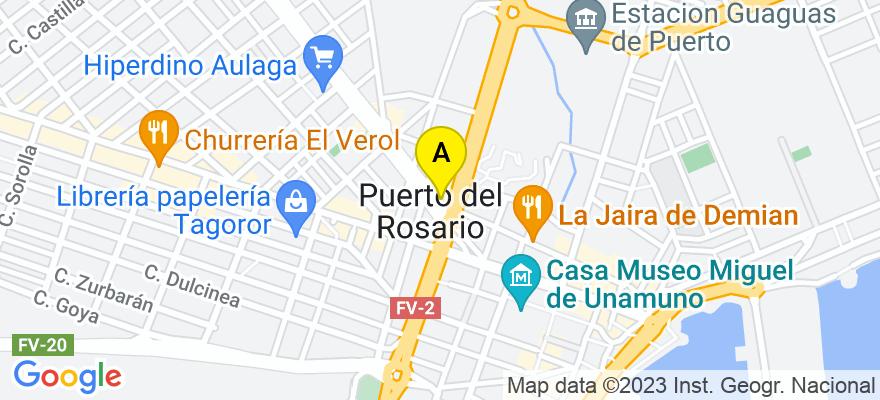 situacion en el mapa de . Direccion: C/ TENIENTE DURÁN 26, PLANTA ALTA, 35600 Puerto del Rosario. Las Palmas