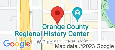 Branch Location Map - Wells Fargo Bank, Orlando Tower Branch, 20 North Orange Avenue, Orlando FL
