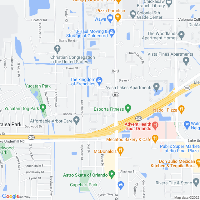 Map of Goldenrod road Extension