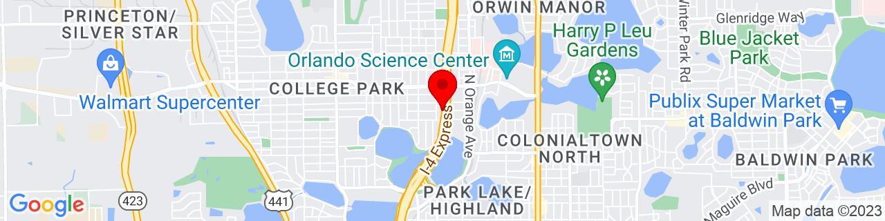 Google Map of 28.56864, -81.37628169999999