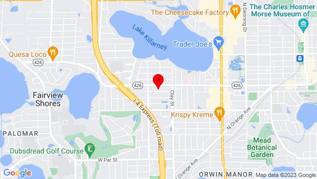 Google Map of 1905 Kentucky Ave., Winter Park, FL 32789