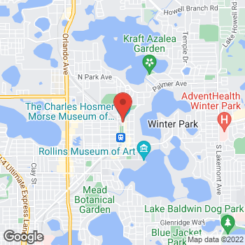 Map of Panera Bread at 329 N Park Avenue, Winter Park, FL 32789