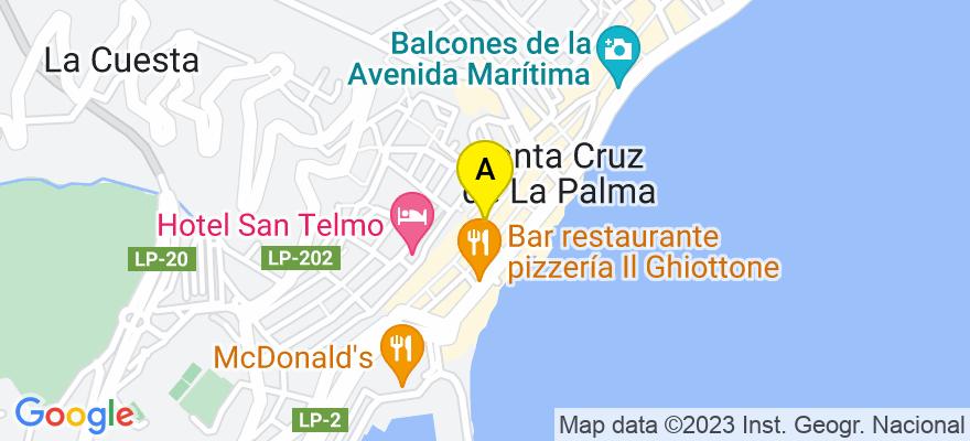 situacion en el mapa de . Direccion: Calle O'Daly, 14, 38700 Santa Cruz de la Palma. Santa Cruz de Tenerife