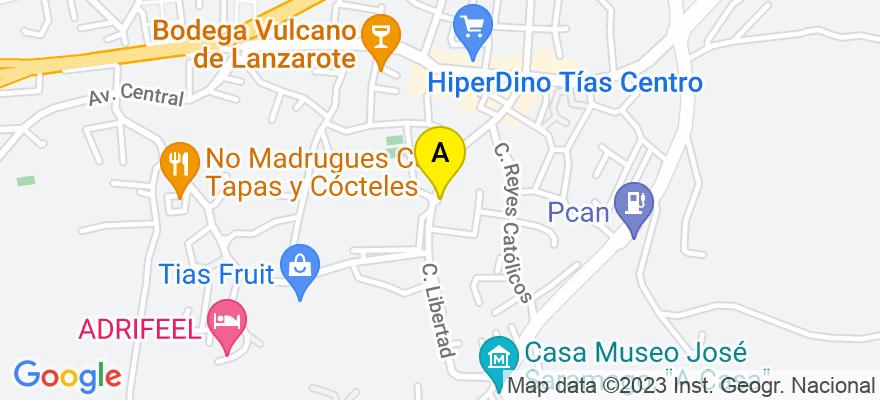 situacion en el mapa de . Direccion: c/ Libertad, 63, 1º, oficina 6, 355572 Tías. Las Palmas