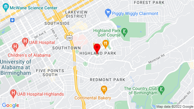 Google Map of 2800 Highland Ave, Birmingham, AL 35205