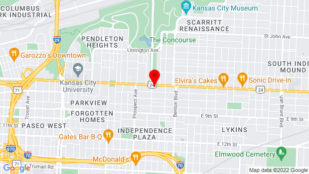 Google Map of 2807 Independence Ave, Kansas City, MO 64124