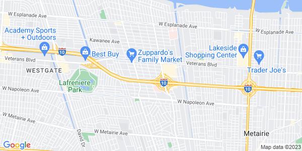 Google Map of 2821+Harvard+Avenue%2C+Metairie%2C+Louisiana+LA+70006%2C+USA