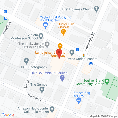 Map of the area around Lamplighter Brewing Co.