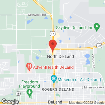 Map of Arby's at 1438 N Woodland Blvd, De Land, FL 32720-2269