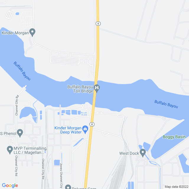 Map of Sam Houston Ship Channel Bridge