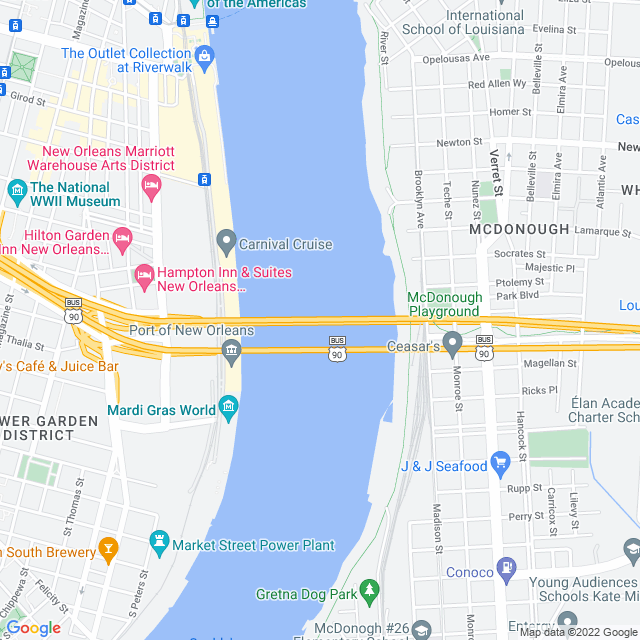 Map of Greater New Orleans Mississippi River/Cresent City Connection
