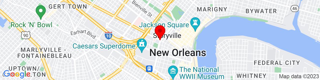 Google Map of 29.954722222222223, -90.075