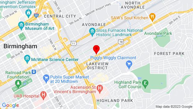 Google Map of 2924 Third Ave South Birmingham, AL 35233, Birmingham, AL 35233