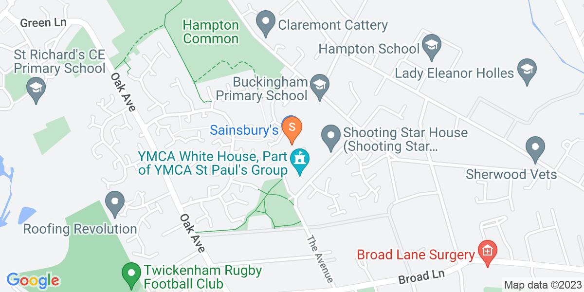 Google Map of 30 Tangley Park Road Hampton TW12 3YH