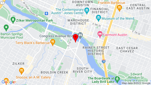 Google Map of 208 Barton Springs Road, Austin, TX 78704