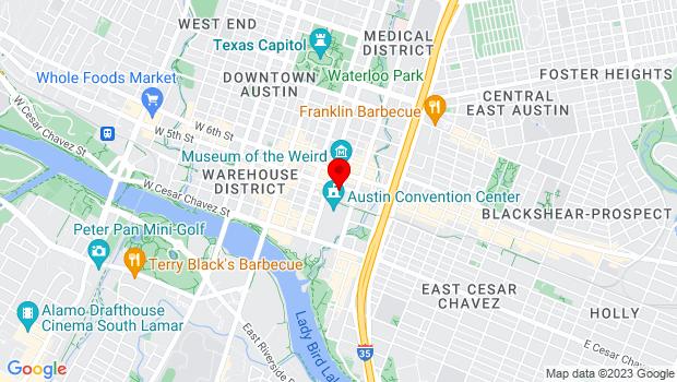 Google Map of 411 East Fifth Street, Austin, TX 78701