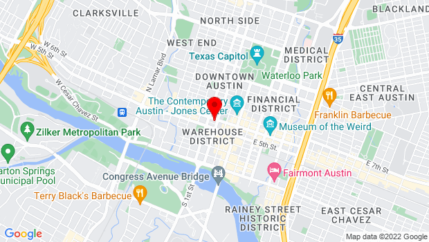 Google Map of 305 West 6th St., Austin, TX 78701