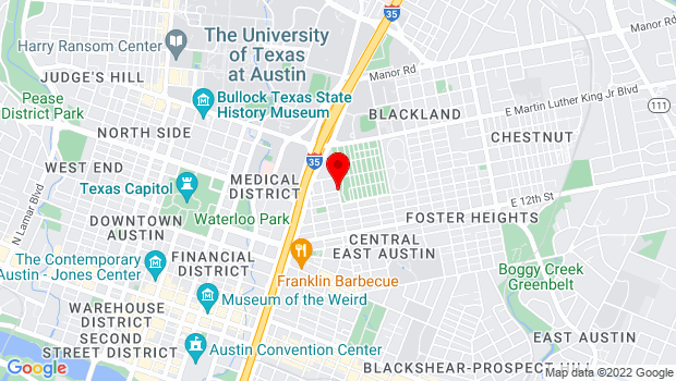 Google Map of 1601 Navasota Street, Austin, TX 78702