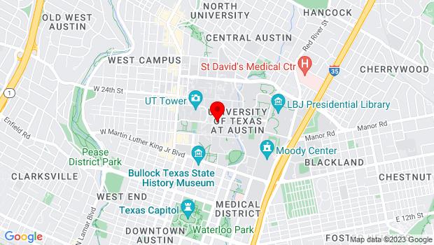 Google Map of 2201 Speedway, Austin, TX 78712