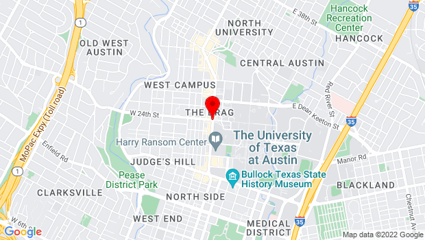 Google Map of 24th and Guadalupe, Austin, TX 78705