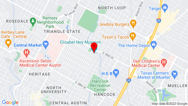 Google Map of 304 East 44th Street, Austin, TX 78751