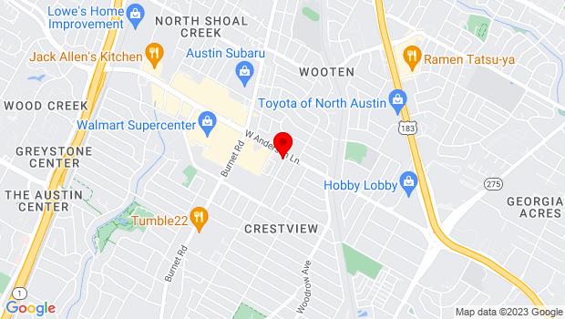 Google Map of 2001 W. Anderson Ln., Austin, TX 78757