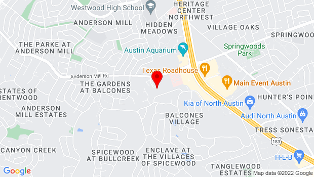 Google Map of 9905 Anderson Mill Rd, Austin, TX 78750