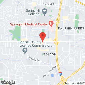 Map of Guitar Center Lessons at 3725 Airport Boulevard, Mobile, AL 36608