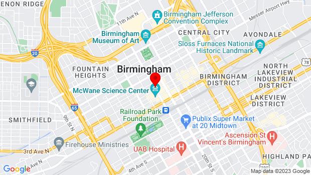 Google Map of 301 19th Street North, Birmingham, AL 35203