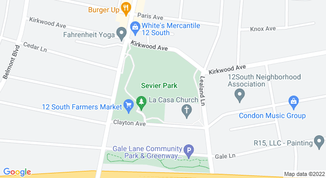 Static Google maps image of the Sevier Park Community Center location