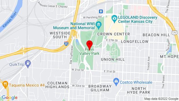 Google Map of 3051 Central in Penn Valley Park , Kansas City, MO 64141