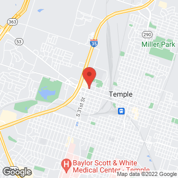 Map of Taco Bell at 1508 W Adams Ave, Temple, TX 76504