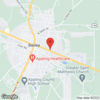 Map of Arby's at 605 East Parker Street, Baxley, GA 31513