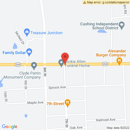 Allen Dickie Funeral Home on Map (Highway 204 & 7, Cushing, TX 75760) Map